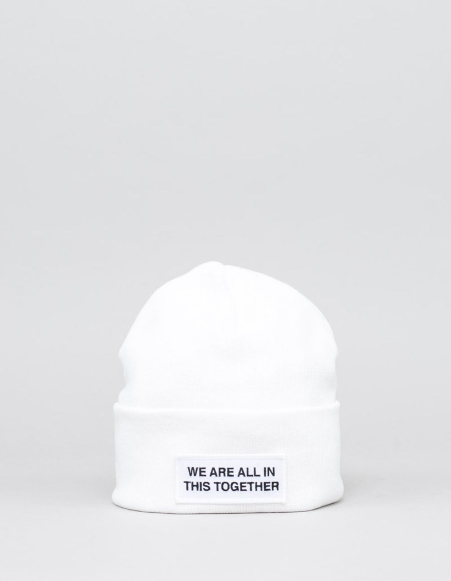 We Are All In This Together  Cotton/Cashmere Logo Hat White