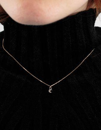 Silver Diamond Luna Necklace