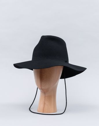 Wide Brim Pinch Hat Drawstring