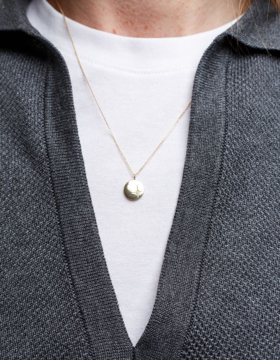 Diamond Set Gold Coin Necklace