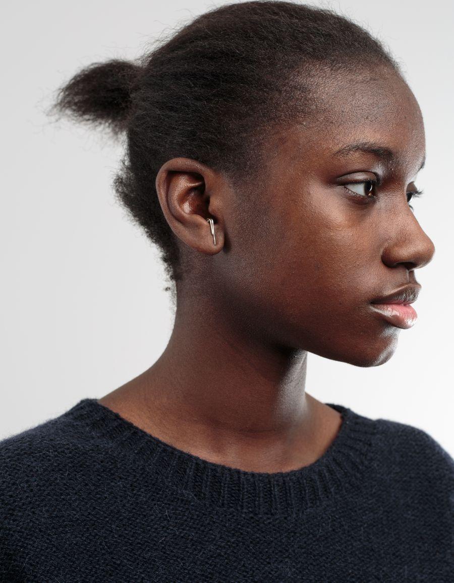 H Sterling Silver Earring