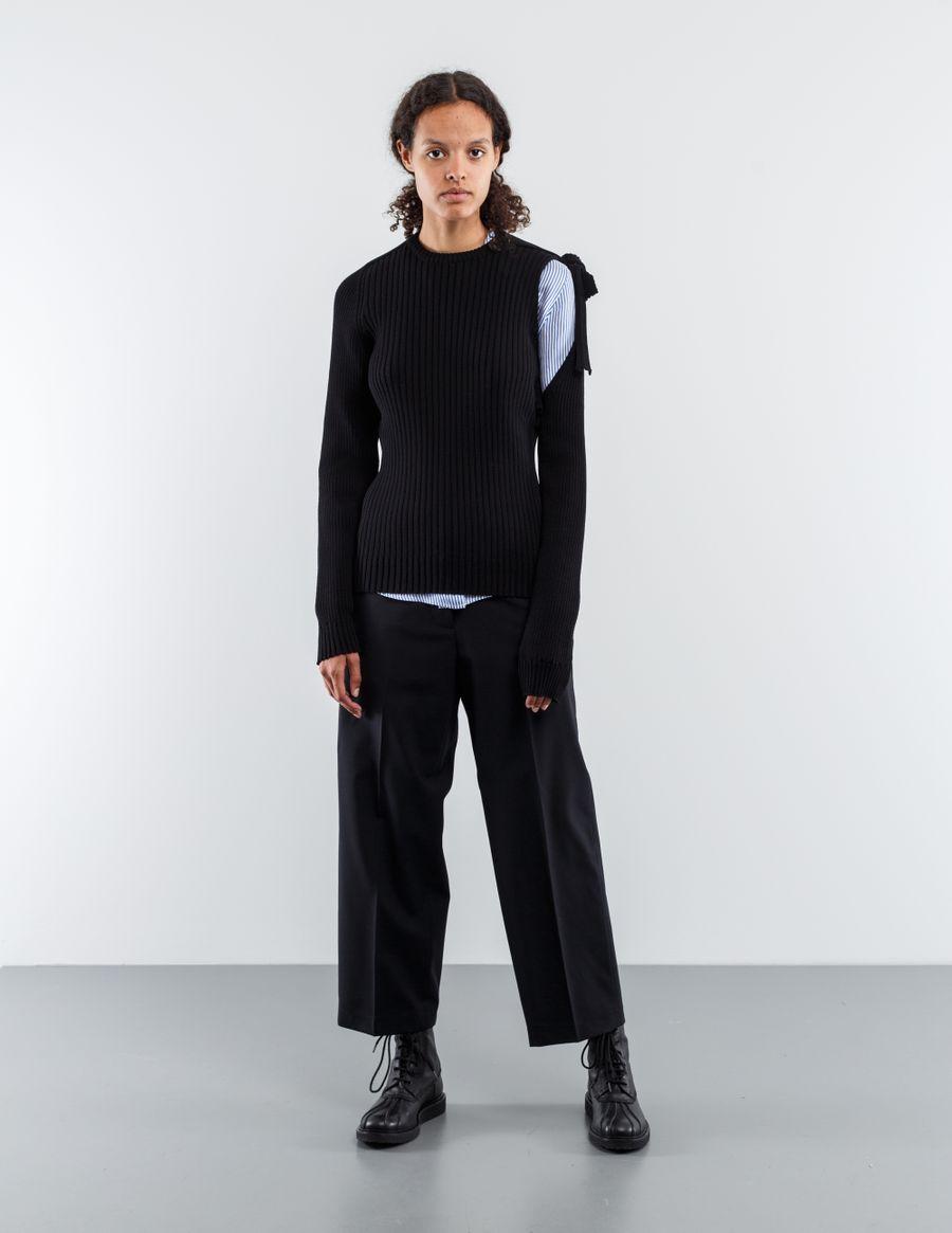 Sara Lanzi Crepe Wool Pullover Tie Sleeve