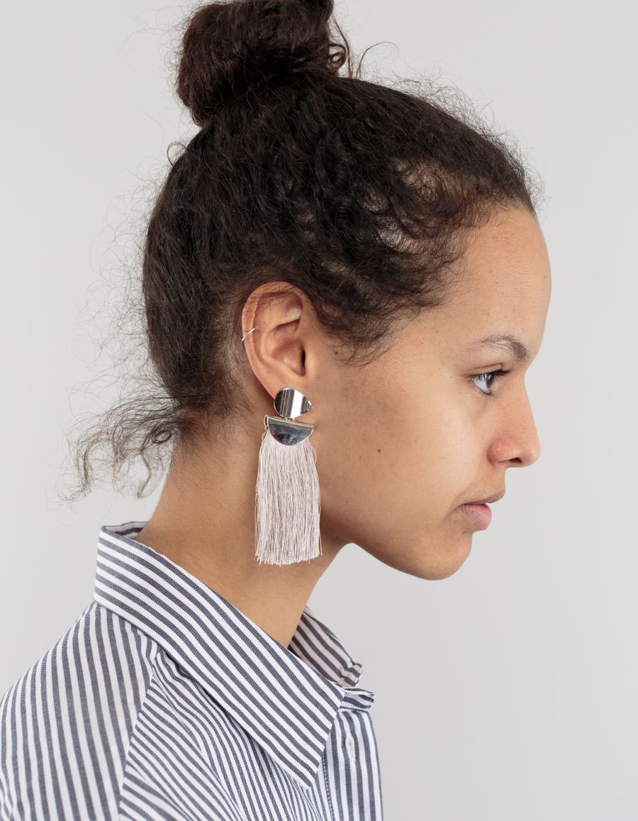 Lizzie Fortunato Crater Earrings Rhodium Slate