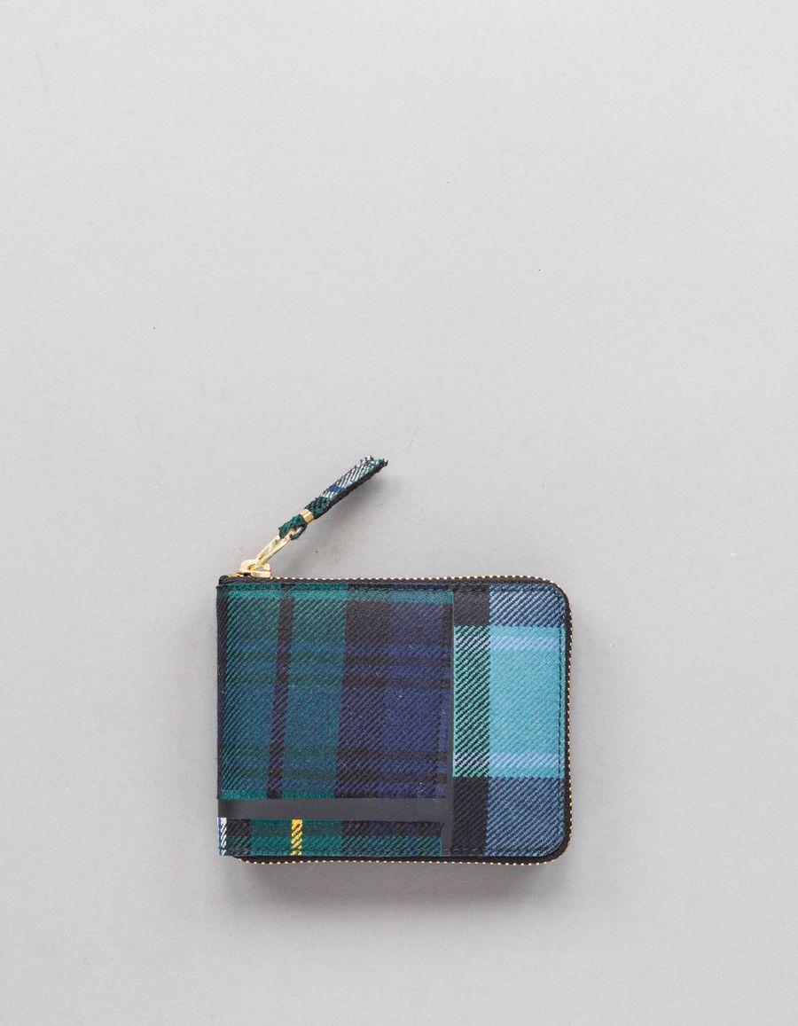 Comme des Garçons Wallet Full Zip Small Wallet - Tartan