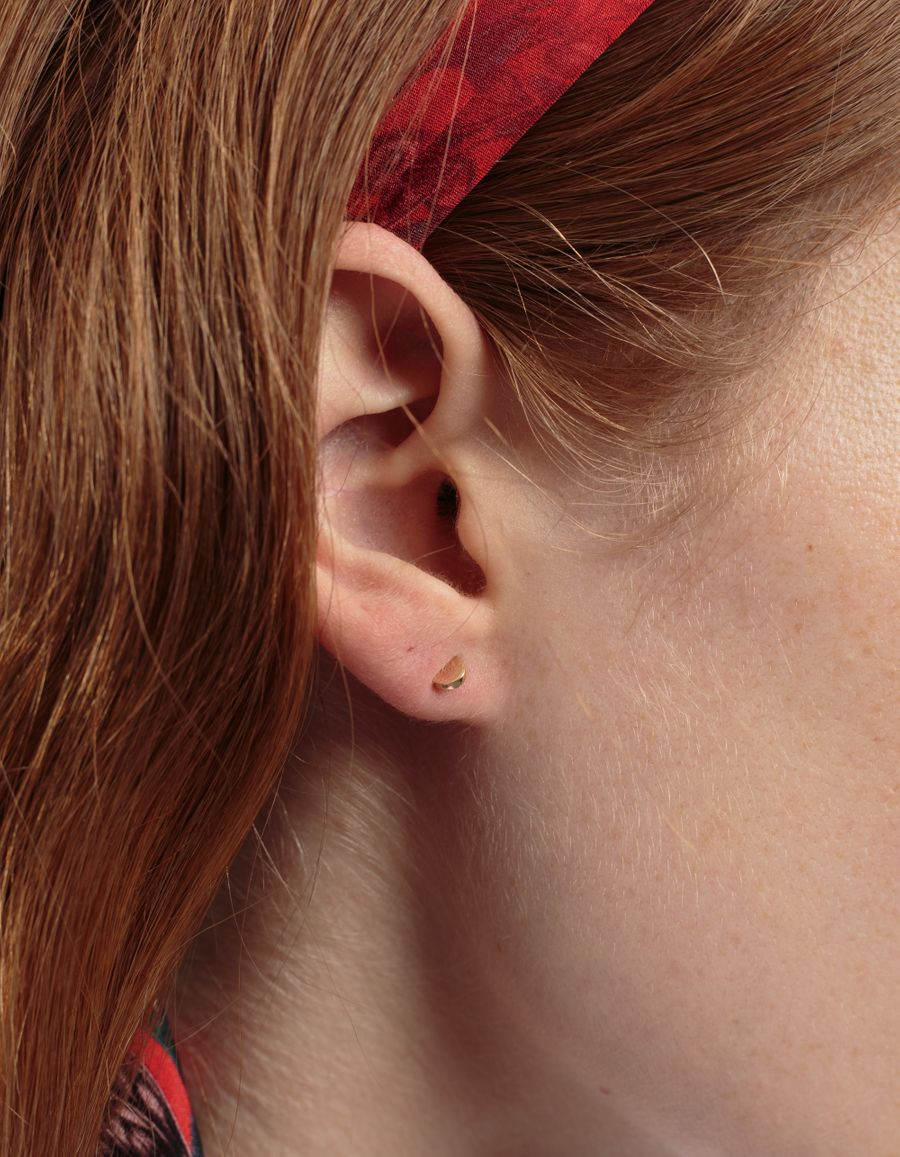 Semi Stud Earring 14k Gold