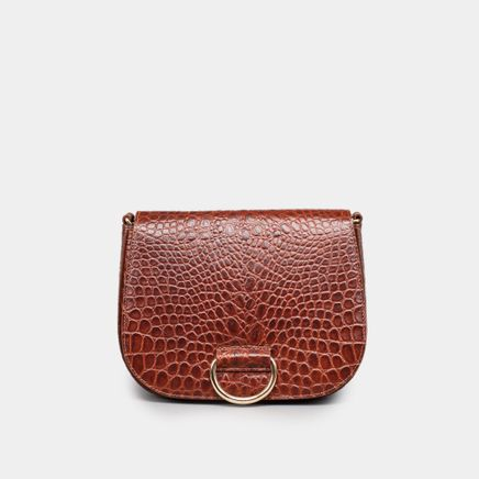 D Saddle Bag Medium Croc Emb.