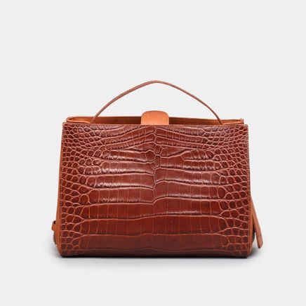 Crop Shopper Small Croc Emb.