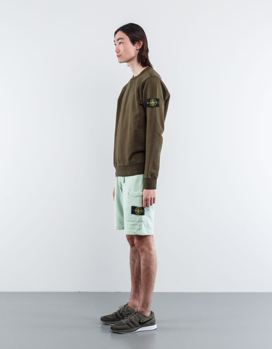 Stone Island 681560840 V0052 Fleece Bermuda Shorts Light Green