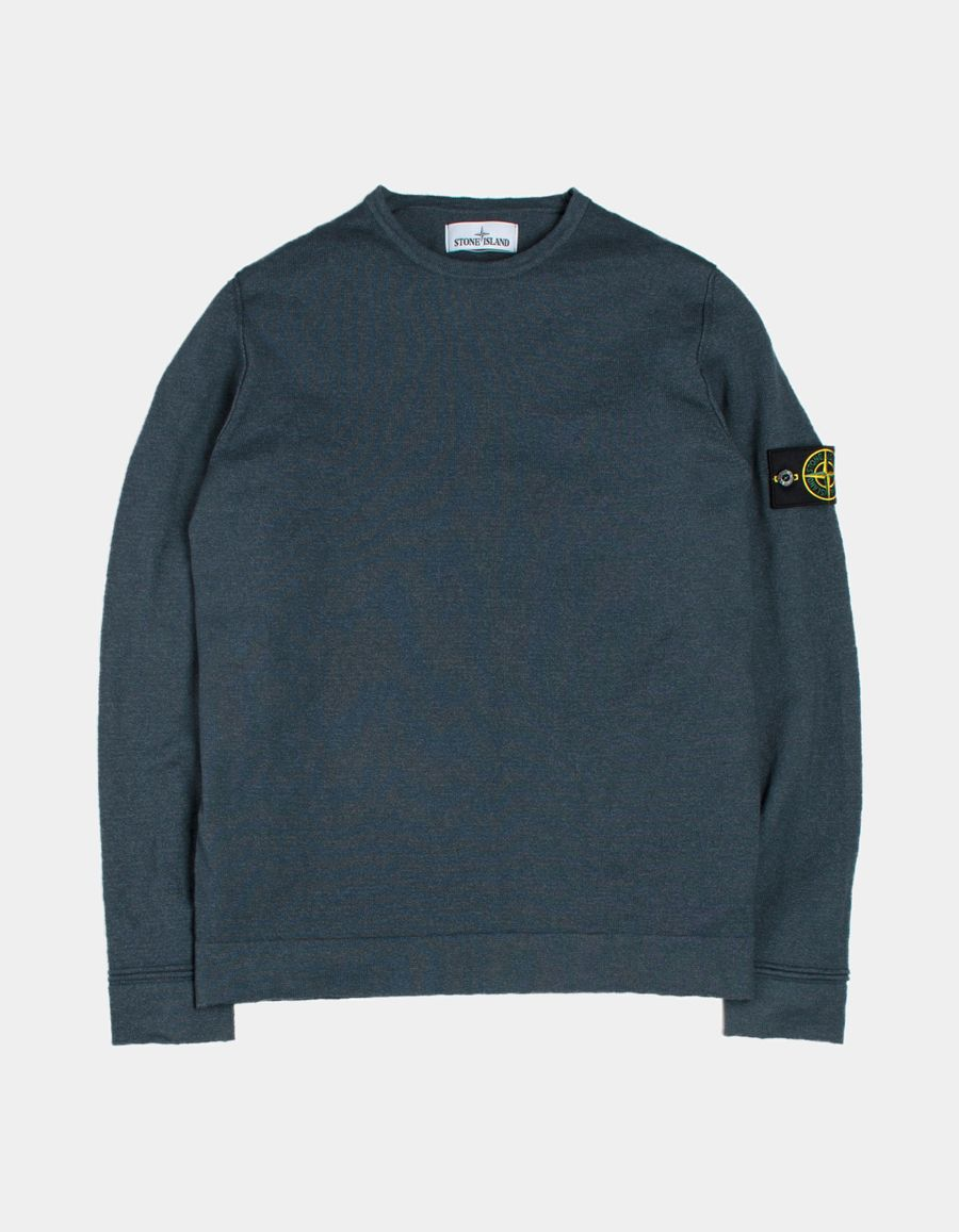 Stone Island 6815528B0 V0063 - Knitted Crew Neck Jumper Blue Grey