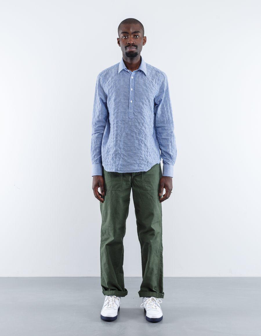 Aspesi Washed Stripe Popover Shirt