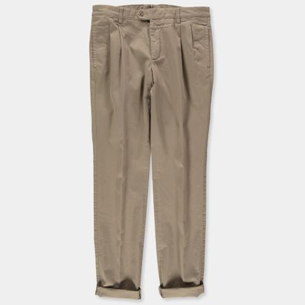 Washed Pleated Cotton Trouser
