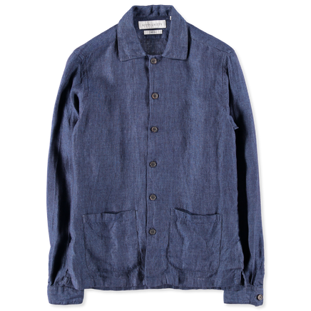 Washed Linen Overshirt Navy