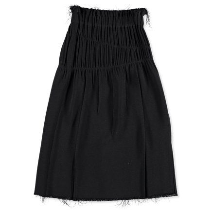 Ruched Skirt Raw Bottom Hem