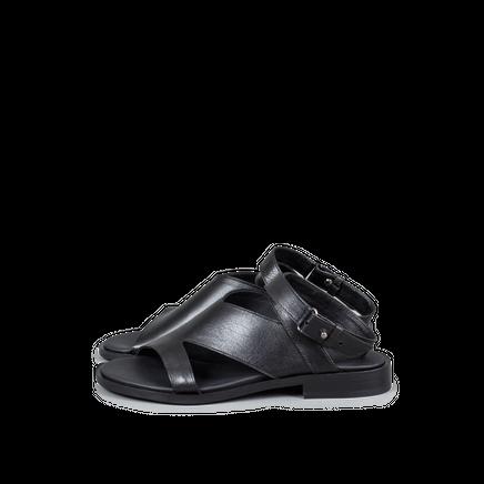 Flat Sandal Leather Cut-Out