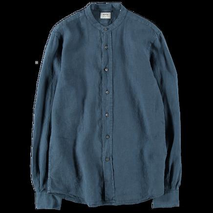Washed Linen Korean Col Shirt
