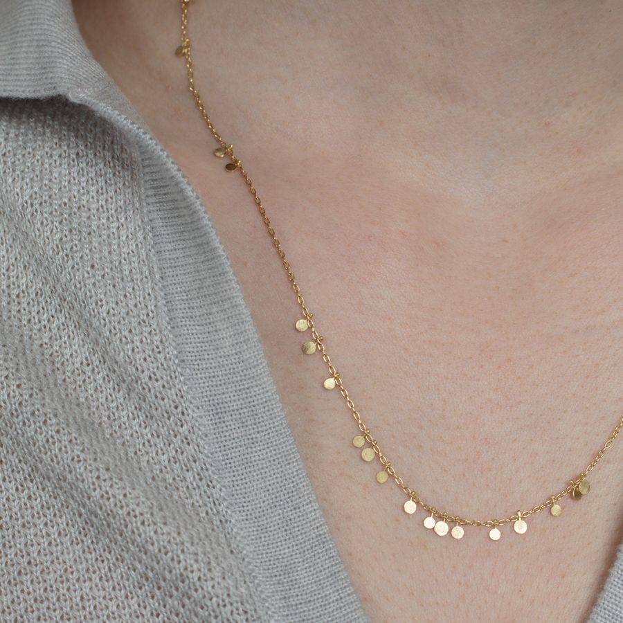 Long Random Dot Necklace 18k