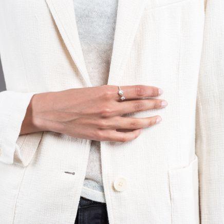 Keshi Silver Pearl Ring