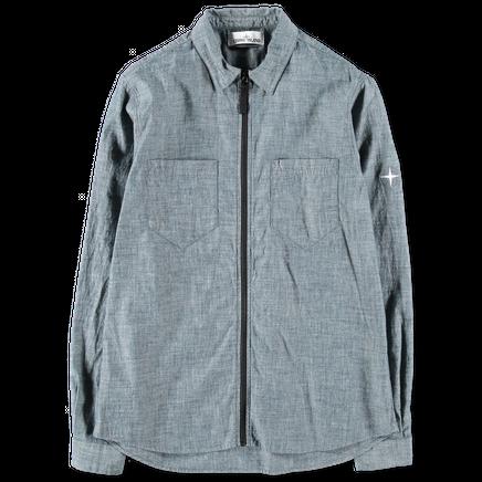 681512407 WASH Chambray Zipped Overshirt
