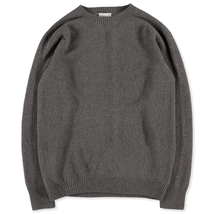 Merino Cashmere Saddle Neck Crew Smoke