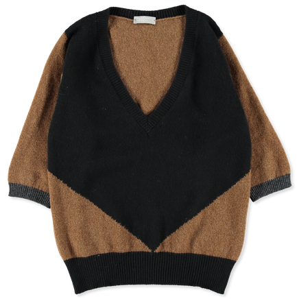 Colour Block V-Neck Jumper
