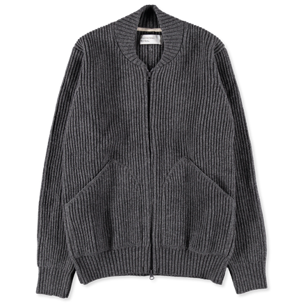 Fisherman Knit Bomber Jacket