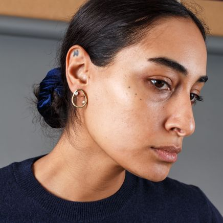 Slized Circle Stud Earring
