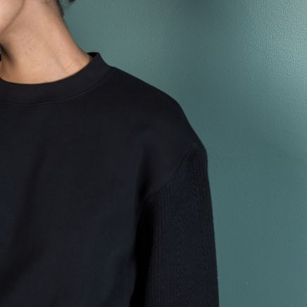Contrasting Sleeves Sweater