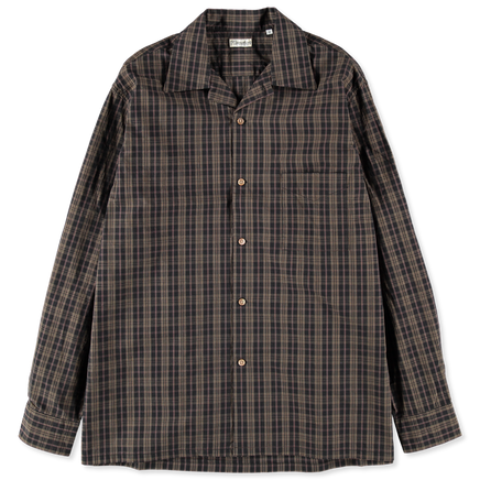 Check Open Collar Poplin Shirt