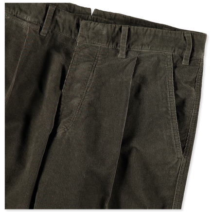 Washed Pleated Cord Pant