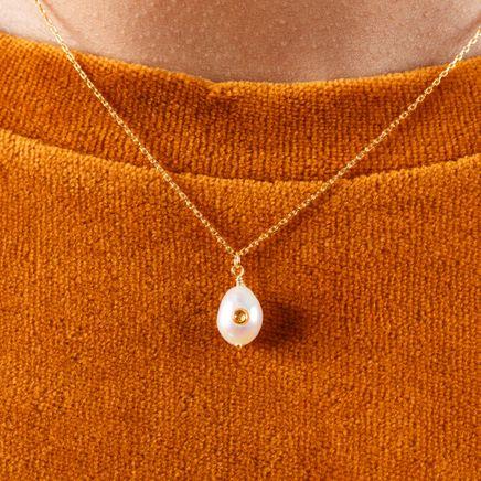 Baroque Pearl Necklace Citrine