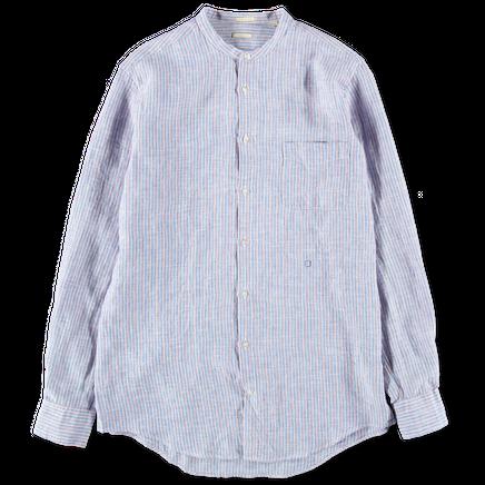 Linen Stripe Collarless Shirt