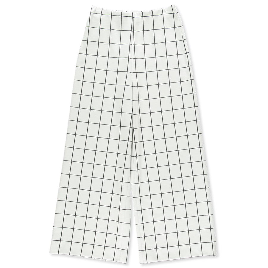 Windowpane Wide Leg Trouser