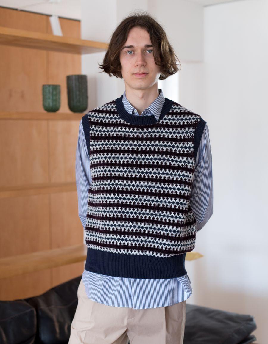 Pattern Knit Terry CN Vest