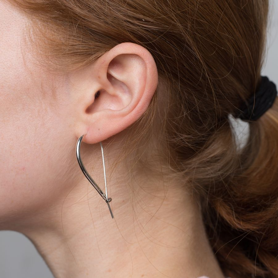Large Triptych Earrings Silver