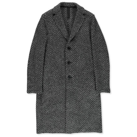 Knitted Herringbone Overcoat
