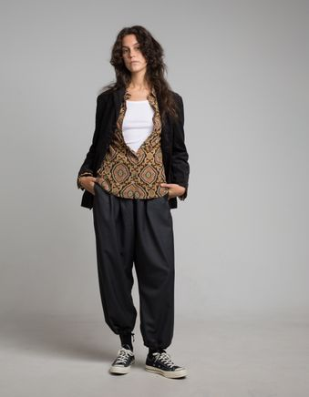 Wool Gabardine Balloon Pant