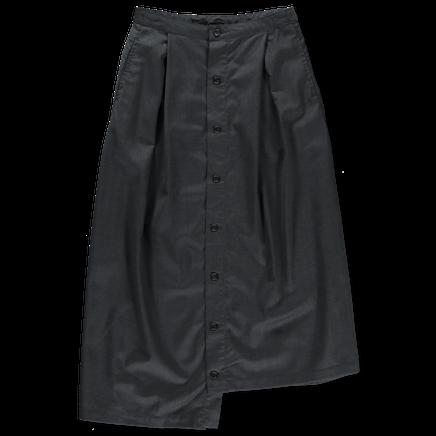 Wool Gabardine Tuck Skirt