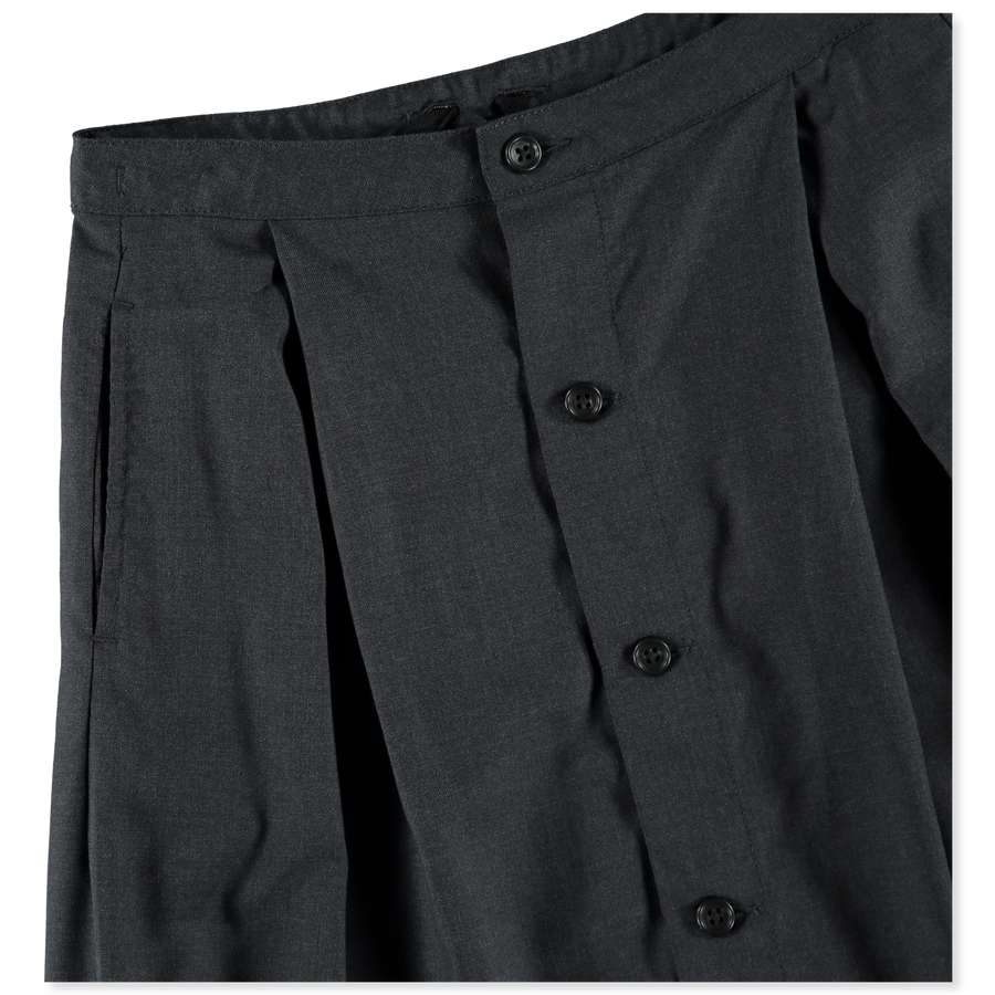 Wool Gabardine Tuck Skirt