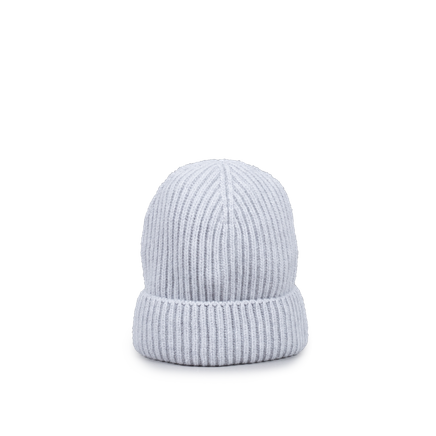 Knitted Merino/Cashmere Rib Beanie Light Grey
