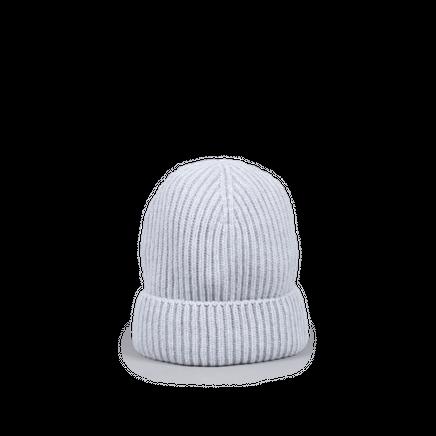Knitted Merino/Cashmere Rib Beanie Light Grey