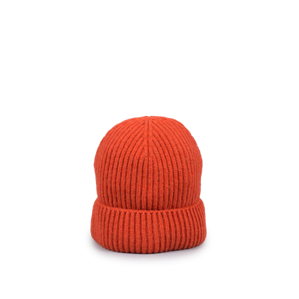 Knitted Merino/Cashmere Rib Beanie Orange