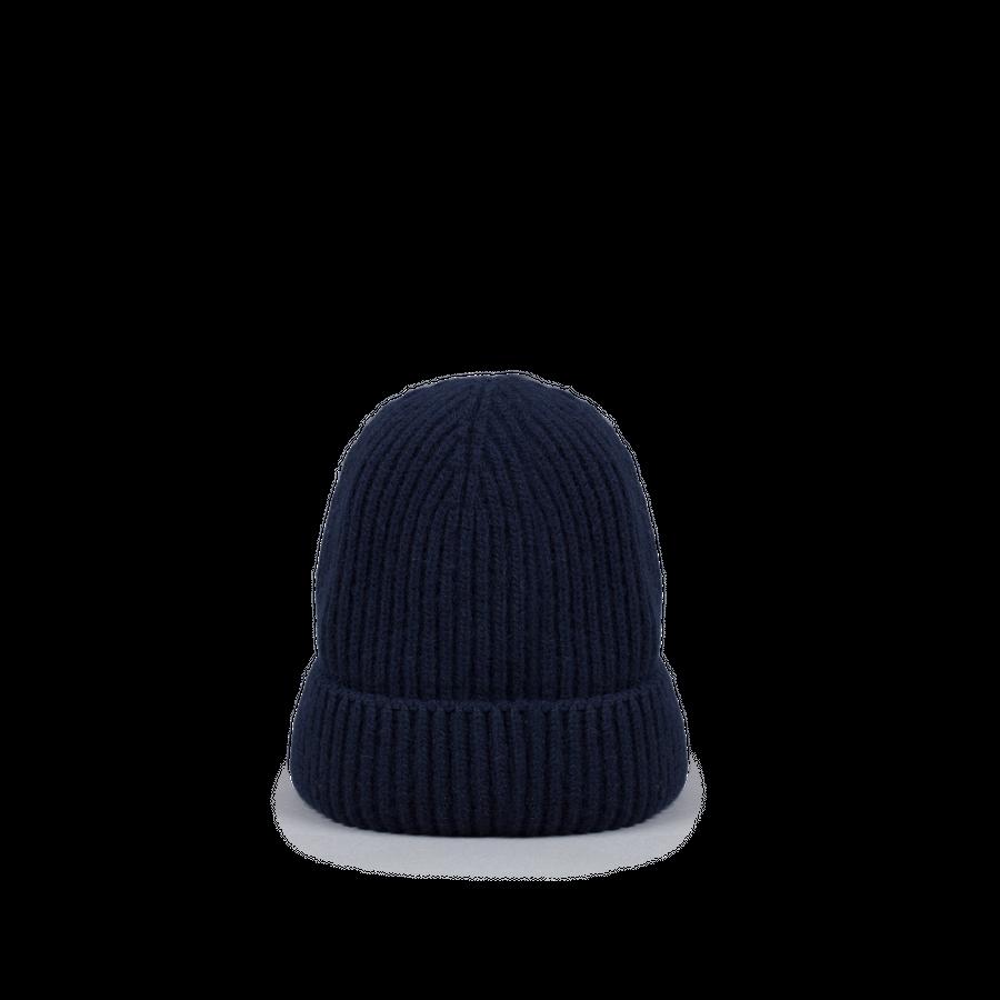 Knitted Merino/Cashmere Rib Beanie Navy