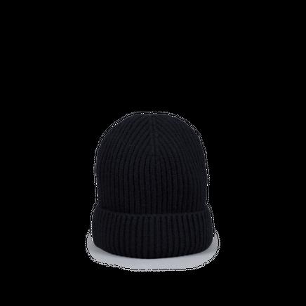 Knitted Merino/Cashmere Rib Beanie Black