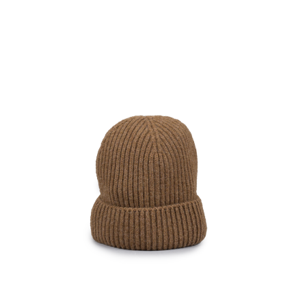 Knitted Merino/Cashmere Rib Beanie Brown