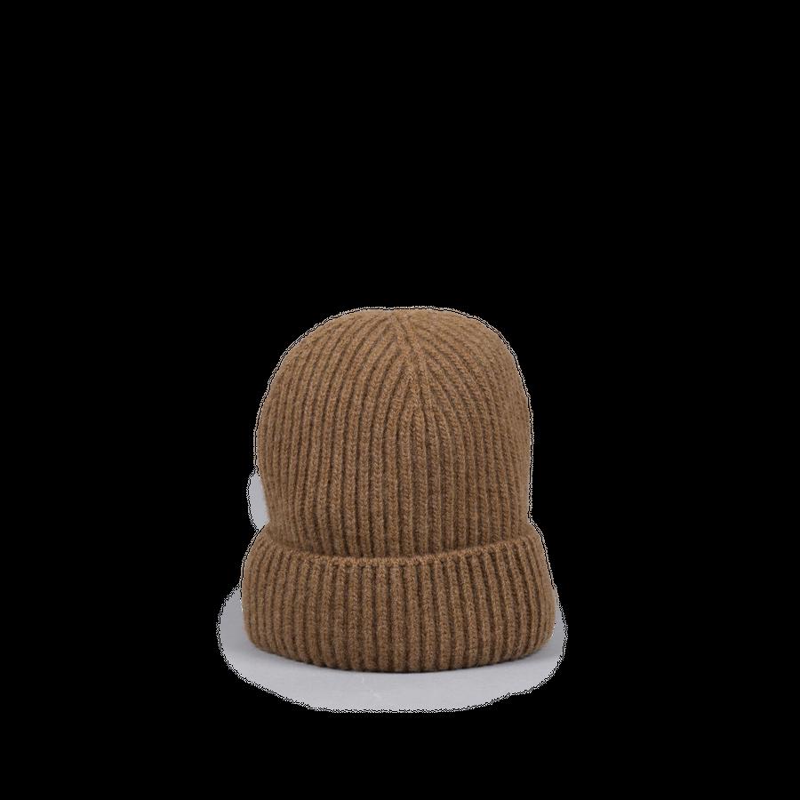 Knitted Merino/Cashmere Rib Beanie Brown