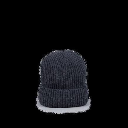 Knitted Merino/Cashmere Rib Beanie Dark Grey