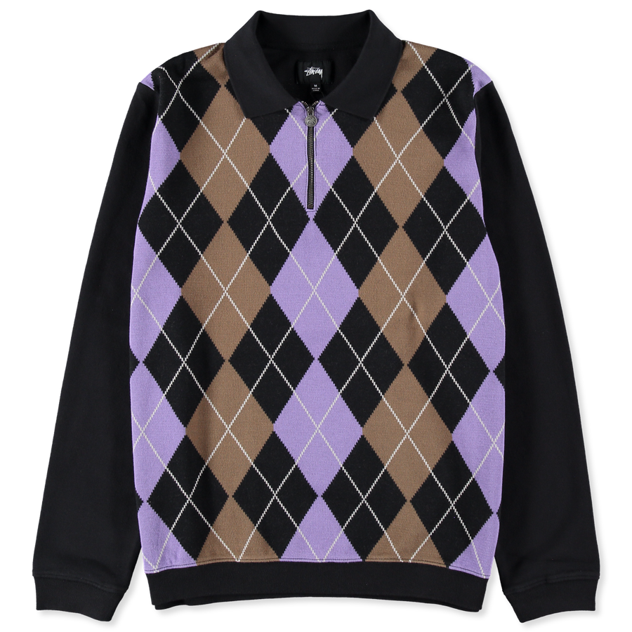 Argyle Zip LS Polo