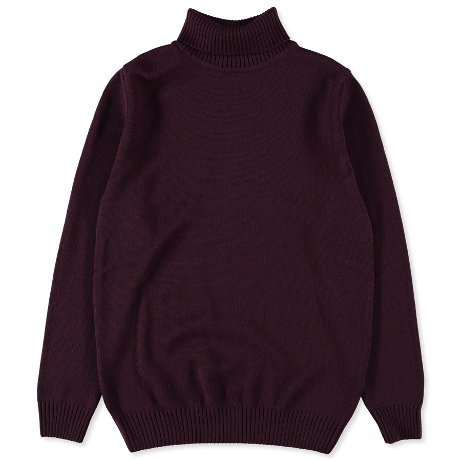 Roll Neck 7g Merino Sweater Burgundy