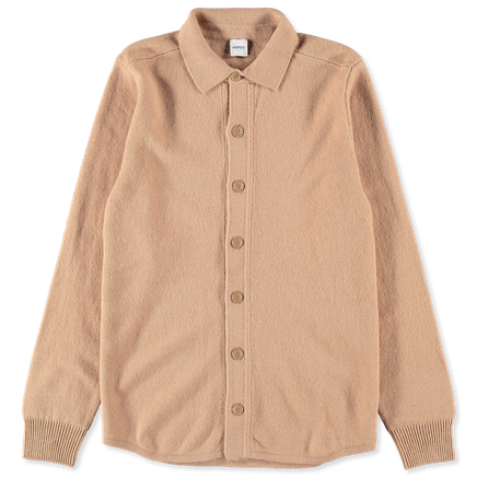 Shirt Collar Wool Cardigan Beige