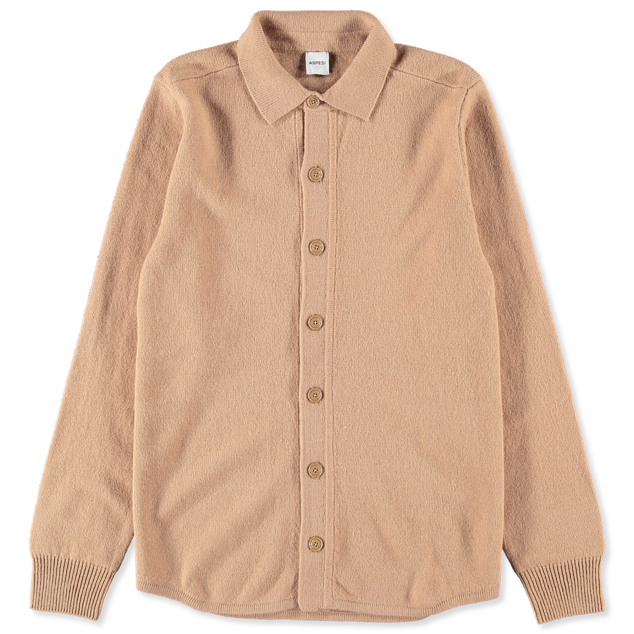 Shirt Collar Wool Cardigan Beige